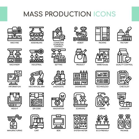 Mass Production , Thin Line and Pixel Perfect Icons Ilustracja