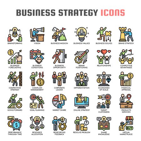 Business Strategy , Thin Line and Pixel Perfect Icons Иллюстрация