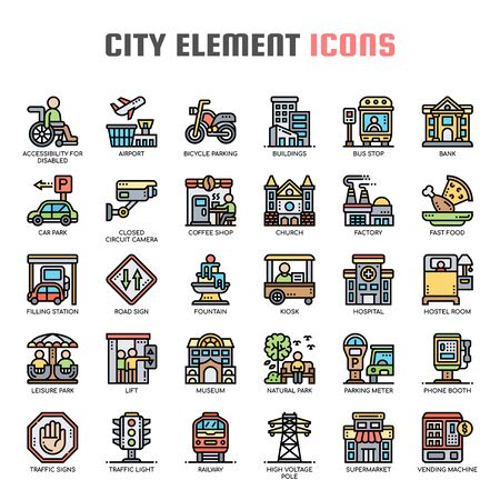 City Elements , Thin Line and Pixel Perfect Icons Stock Vector - 130108332