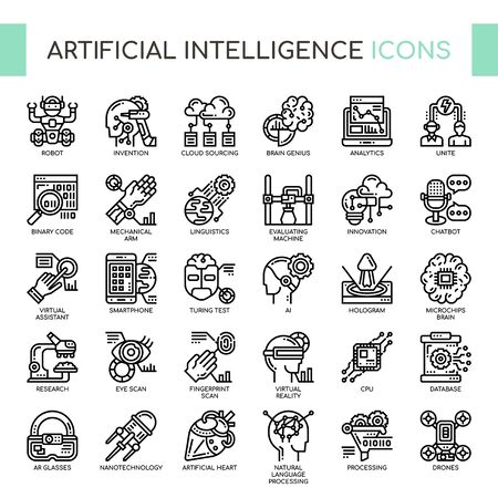 Artificial Intelligence , Thin Line and Pixel Perfect Icons 免版税图像 - 130108342