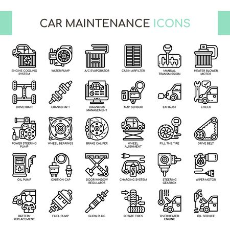 Car Maintenance , Thin Line and Pixel Perfect Icons