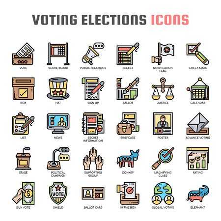 Voting Elections , Thin Line and Pixel Perfect Icons