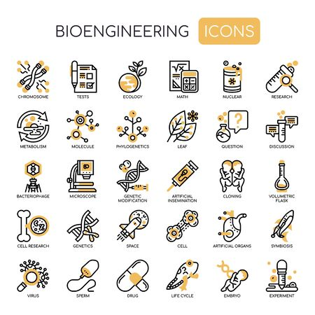 Bioengineering , Thin Line and Pixel Perfect Icons Vectores