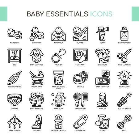 Baby Essentials , Thin Line and Pixel Perfect Icons Vectores