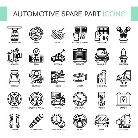Automotive spare parts , Thin Line and Pixel Perfect Icons