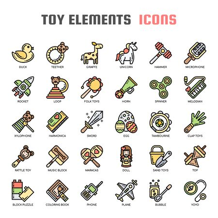 Toy Elements , Thin Line and Pixel Perfect Icons Ilustração