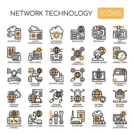 Network Technology , Thin Line and Pixel Perfect Icons