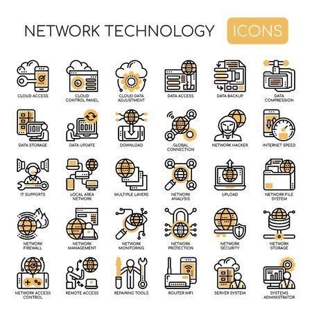 Tecnologia di rete, linea sottile e icone perfette pixel Vettoriali