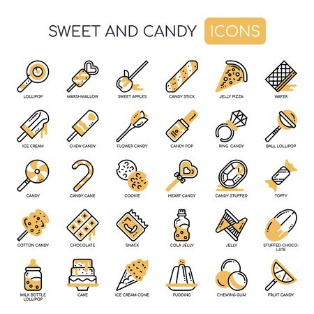 Sweet and Candy , Thin Line and Pixel Perfect Icons 向量圖像