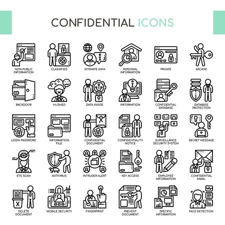Confidential Information , Thin Line and Pixel Perfect Icons