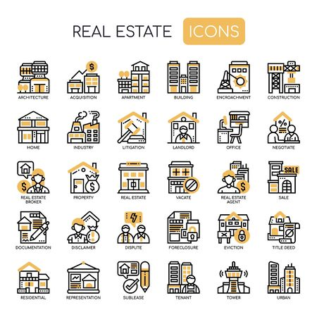 Immobilien, Thin Line und Pixel Perfect Icons