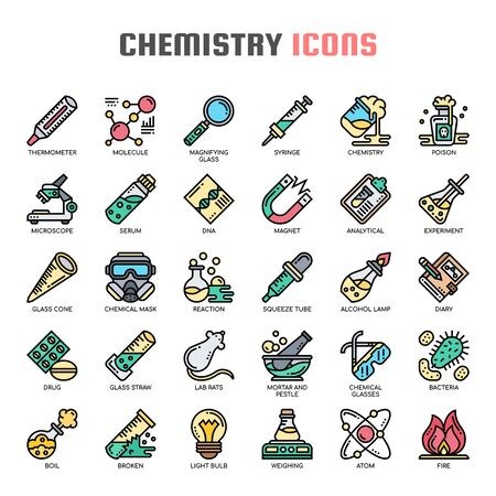 Chemistry , Thin Line and Pixel Perfect Icons 向量圖像