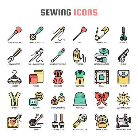 Nähen, Dünne Linie und Pixel Perfect Icons