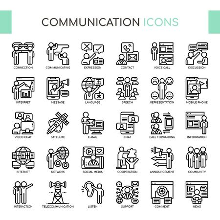 Communication , Thin Line and Pixel Perfect Icons