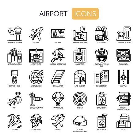 Airport , Thin Line and Pixel Perfect Icons Stock Illustratie