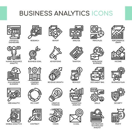 Business Analytics , Thin Line and Pixel Perfect Icons