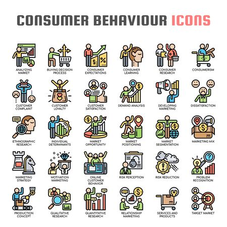 Consumer Behaviour , Thin Line and Pixel Perfect Icons