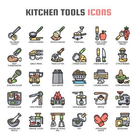 Kitchen Tools , Thin Line and Pixel Perfect Icons Illustration