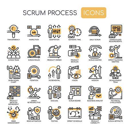 Scrum-proces, dunne lijn en Pixel Perfect-pictogrammen