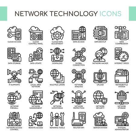 Iconos de tecnología de red, líneas finas y píxeles perfectos