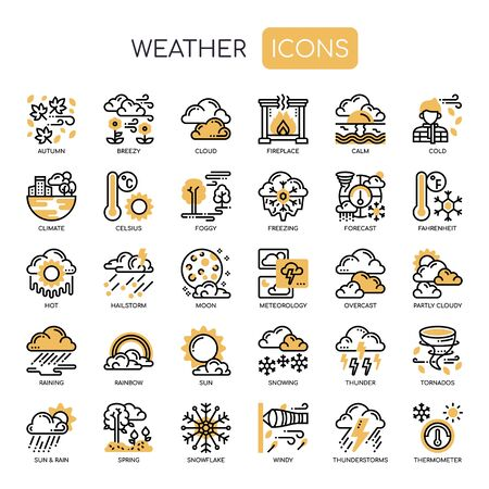 Weather , Thin Line and Pixel Perfect Icons