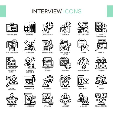 Interview , Thin Line and Pixel Perfect Icons
