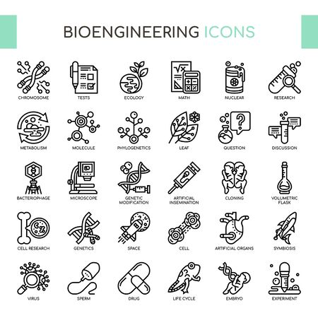 Bioengineering , Thin Line and Pixel Perfect Icons Foto de archivo - 130108814