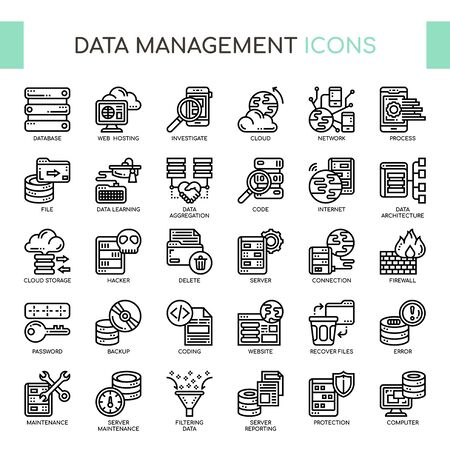 Data Management, Thin Line and Pixel Perfect Icons Иллюстрация