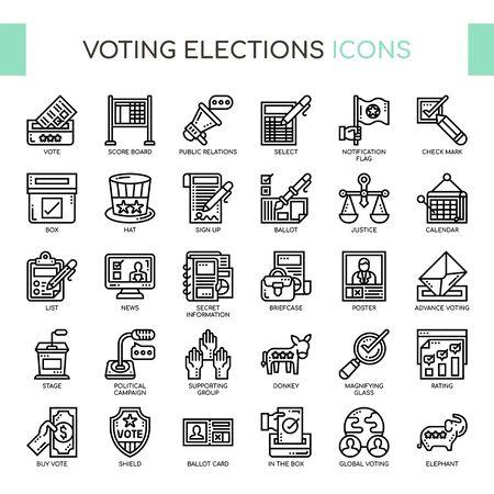 Élections de vote, Thin Line et Pixel Perfect Icons Vecteurs