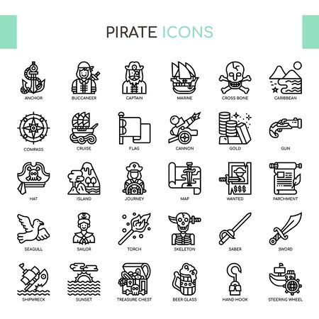 Pirate , Thin Line and Pixel Perfect Icons Stock Illustratie