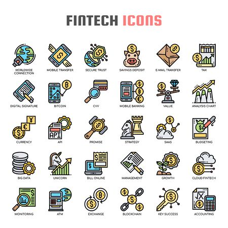 Fintech , Thin Line and Pixel Perfect Icons Çizim
