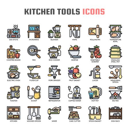 Kitchen Tools , Thin Line and Pixel Perfect Icons Ilustracja