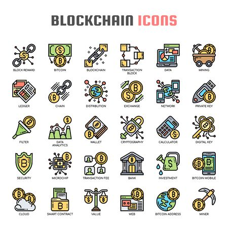 Blockchain , Thin Line and Pixel Perfect Icons Stock Illustratie