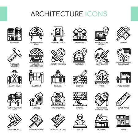 Architecture , Thin Line and Pixel Perfect Icons Foto de archivo - 130109217