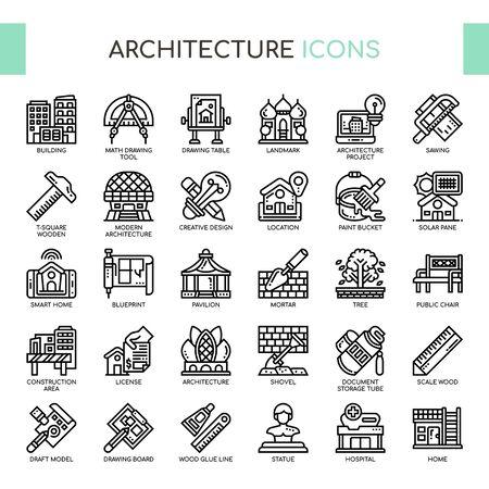 Iconos de arquitectura, líneas finas y píxeles perfectos Ilustración de vector
