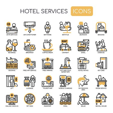 Hotel Service , Thin Line and Pixel Perfect Icons