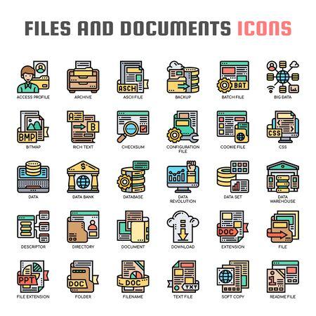 Archivos y documentos, iconos de líneas finas y píxeles perfectos