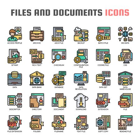 Files and Documents , Thin Line and Pixel Perfect Icons 免版税图像 - 130109221