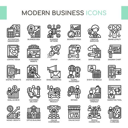 Modern Business , Thin Line and Pixel Perfect Icons  イラスト・ベクター素材