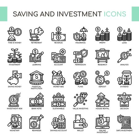 Saving and Investment , Thin Line and Pixel Perfect Icons  イラスト・ベクター素材
