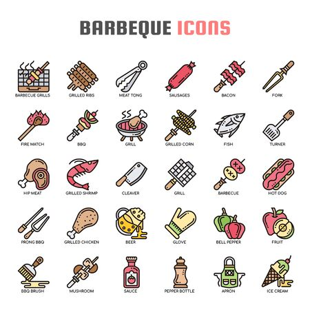 Barbeque , Thin Line and Pixel Perfect Icons Иллюстрация