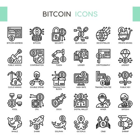 Bitcoin , Thin Line and Pixel Perfect Icons
