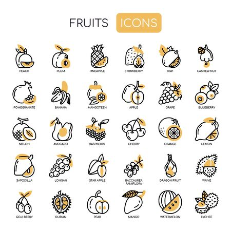 Fruit , Thin Line and Pixel Perfect Icons