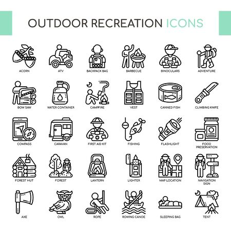 Outdoor Recreation , Thin Line and Pixel Perfect Icons Çizim