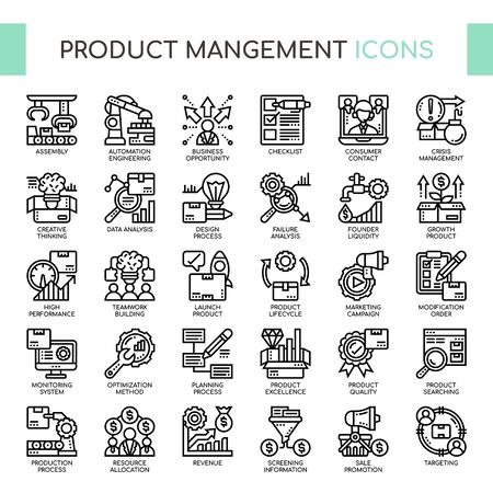 Product mangement , Thin Line and Pixel Perfect Icons