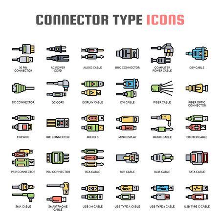 Iconos de tipo de conector, línea fina y píxeles perfectos