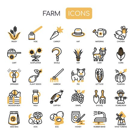 Farm , Thin Line and Pixel Perfect Icons Çizim