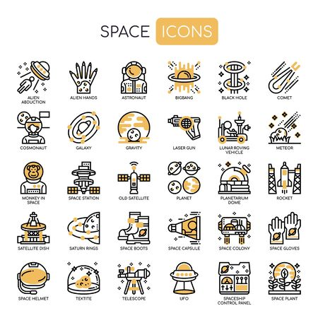 Space , Thin Line and Pixel Perfect Icons Иллюстрация