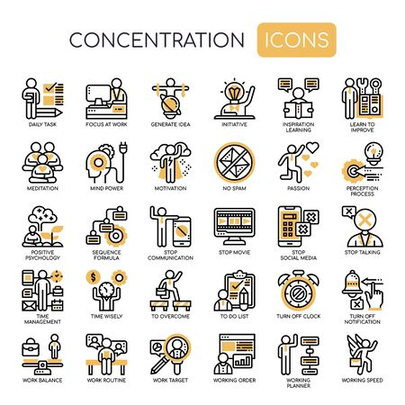 Concentration , Thin Line and Pixel Perfect Icons  イラスト・ベクター素材