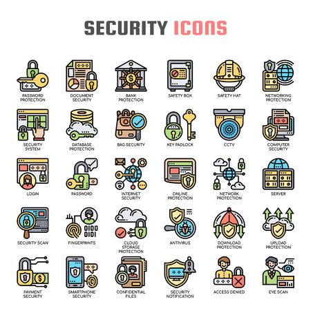 Security and Protection , Thin Line and Pixel Perfect Icons Foto de archivo - 130109887